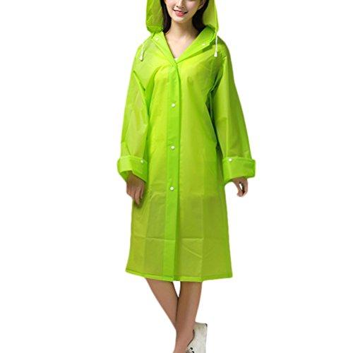 Zhhlaixing Adult Portable Travel Reuseable Showerproof Fashion Long Sleeves Raincoat Green