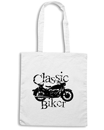 T-Shirtshock - Borsa Shopping T0260 classic biker auto moto motori Bianco