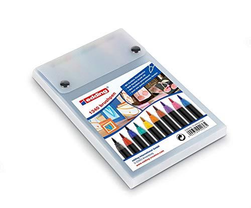 edding 1340 Brush Pen - Fasermaler mit variabler Spitze - 10er Set , Farblich sortiert