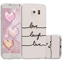 Galaxy S6 Funda,ZXK CO Carcasa Silicona TPU Gel para Samsung Galaxy S6 Semi-Transparente Anti-Arañazos Amortiguar los Choques Borrar Espalda Diseño Dibujos Cover Caso Case-ECG Live Love Laugh