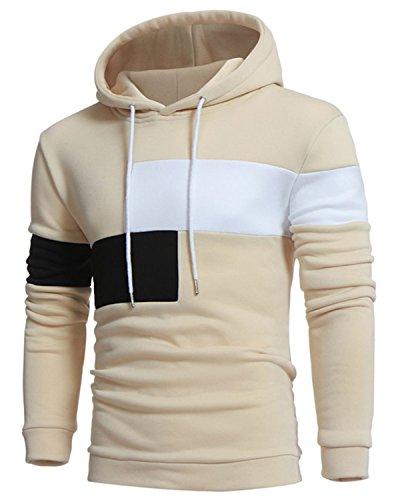 Jolime felpa con cappuccio manica lunga hoodie pullover a righe contrasto moda giacca uomo beige 3xl