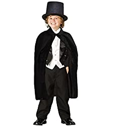 dazzling toys Capa y Sombrero de Mago Color Negro para Disfraz de Niños - D127