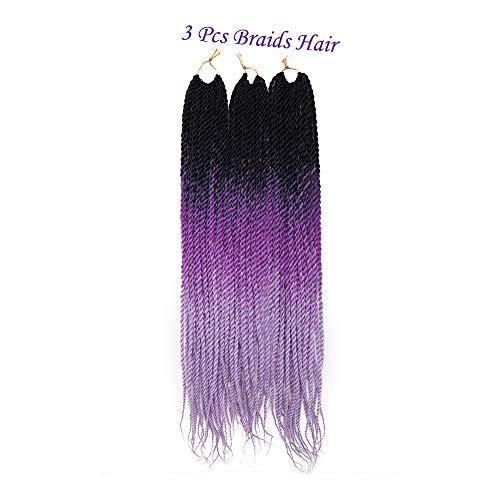 Sego trecce extension lunghe da 3 pz - nero ombre viola ombre lilla - treccine capelli sintetici braiding hair twist a crochet 300g