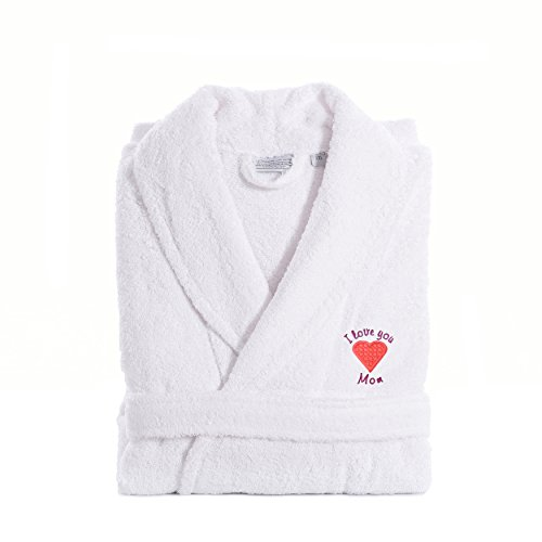 """Linum Home Textiles TR00-XX-PINKHRT """"I Love You Mom"""" Embroidered White Terry Bathrobe, XX-Large, Pink Heart"""