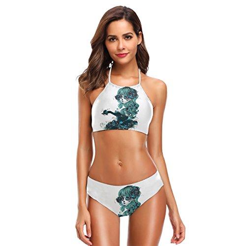 (Naanle Damen Blumen Mädchen Zucker Schädel Bikini Bademode Badeanzug Strand Anzug Badeanzüge X-Large Mehrfarbig)