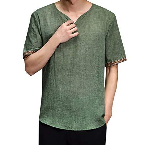 Luckycat Herren Solide Baumwolle Leinen Yoga Bluse Langarm, Herren Sommer T-Shirt Baumwolle Leinen Thai Hippie Shirt V-Ausschnitt Strand Yoga Top Bluse t-Shirt Herren weiß t-Shirt Herren ()