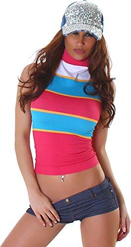 Unbekannt Signore Shirt Top T-Shirt Necktop Pizzo Motivo Floreale Camicia di Pizzo Floreale Senza Maniche a Collo Alto Design Alla Moda Rosa