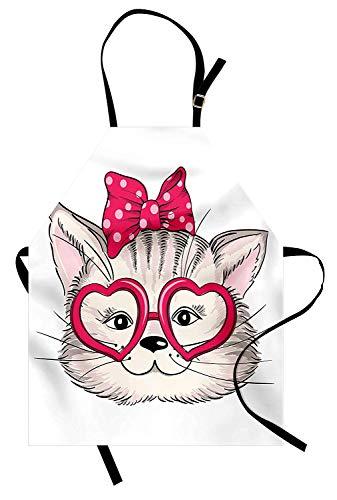 Soefipok Katze-Schürze, Mode-Mädchen-Kätzchen mit herzförmigen Brille und Band Teenager-sexy Illustration, Unisex-Küchenschürze mit verstellbarem Hals zum Kochen Backen Gartenarbeit, Perle Rosa