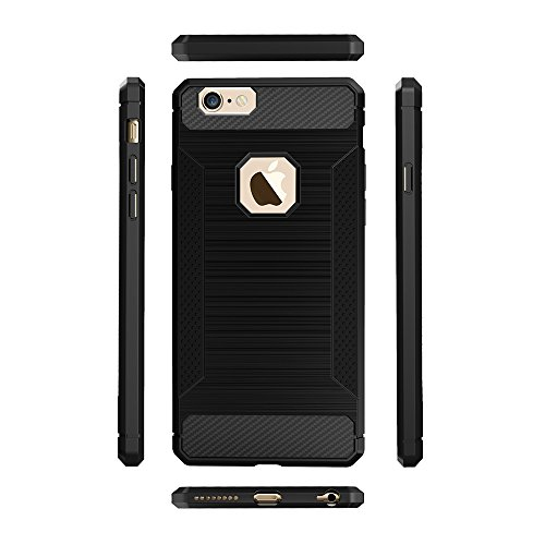 EKINHUI Case Cover Für Apple IPhone 6 u. 6s Fall gebürstete Linien Beschaffenheit Karikatur Faser Haltbare Anti-Rutsch TPU Abdeckung Schock-Absorbtion schützende rückseitige Abdeckung ( Color : Dark B Black