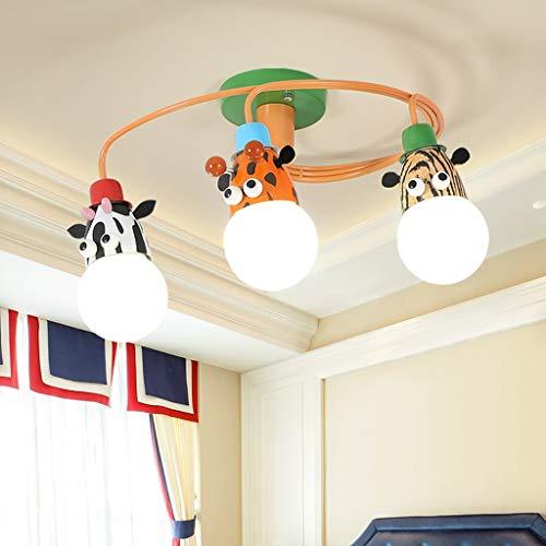 ZQH Kinder Deckenleuchte, Karikatur Tier Deckenlampe LED Kinderzimmer Junge Mädchen Leuchter Vergnügungspark Kindergarten Dekoration Beleuchtungskörper,3heads -