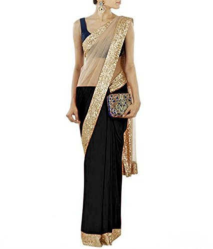 Temptingg Fashions Black Chiffon and Beige Net Lace Border Work Saree (TF365A036)  available at amazon for Rs.299