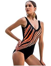 Damen Einteiler Badeanzug, schwarz mit orangem Streifenmuster, C-Cup