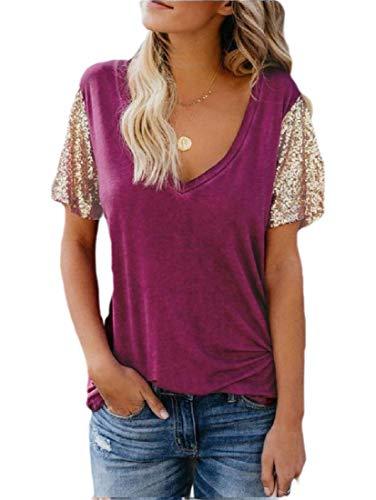 CuteRose Women's Lounge V-Neck Short Sleeves Fashionable Tops Stitch T-Shirts Purple XL (Lounge Shirt L/s Womens)