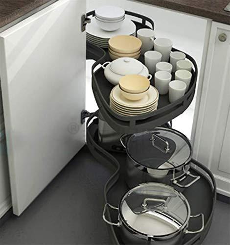 Drehen Sie eine Ecke Küchenschrank Regal aus rostfreiem Stahl Korb ziehen Gedämpfte Gleitbahn Stumm schalten rutschfest Große Kapazität, Drehbar, Schwarz Erdnuss Korb Türverkleidung Links und - Aus Rostfreiem Stahl Küche Schrank