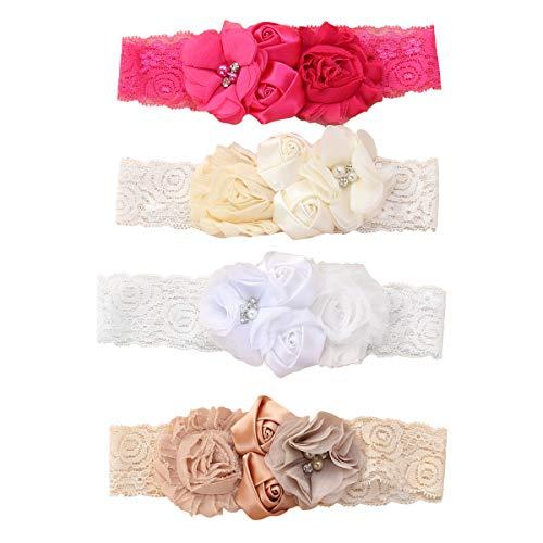 Lurrose 4 Unids Rosa Flor Encaje Cintas Para el Cabello Cinta Suave Turbante Bautizo Cabeza...