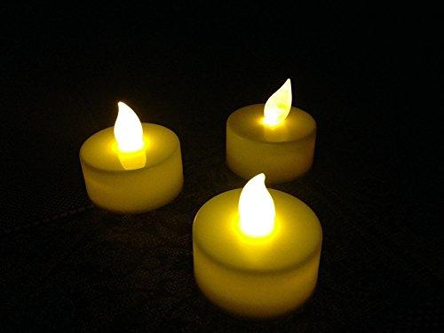 Leisial 12 Stück/Set Schwimmend LED Kerzenlicht LED Flammenlos Teelicht LED Flackernd Votive Kerze,Warme Gelb Flamme (Kerzen Set Flammenlose 5-er)
