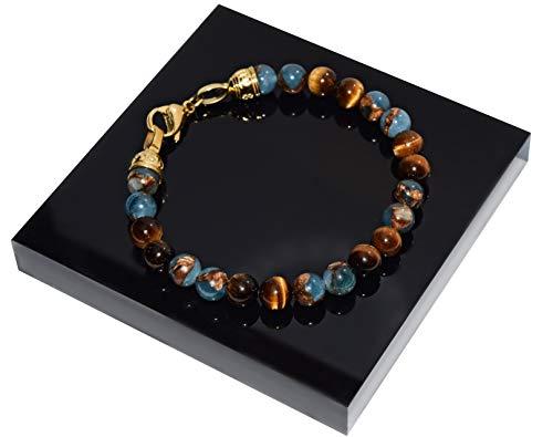 Rock and Steel Herrenarmband aus Nepal Perlen und Tigerauge mit Karabiner (Gold, 21) - Nepal Armbänder Gold