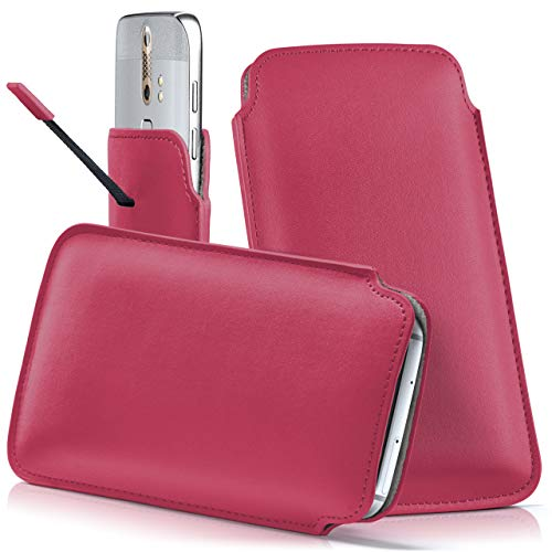 moex ZTE Nubia Red Magic | Hülle Pink Sleeve Slide Cover Ultra-Slim Schutzhülle Dünn Handyhülle für Nubia Red Magic Case Full Body Handytasche Kunst-Leder Tasche