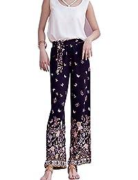 Mujeres Tallas Grandes Pantalon Impreso Flores Palazzo Anchos Pierna Pantalones