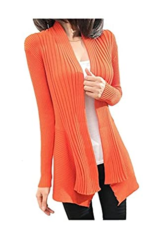 ARJOSA Women's Cable Knit Irregular Hem Open Front Drape Cardigan Sweater (#5 Orange)