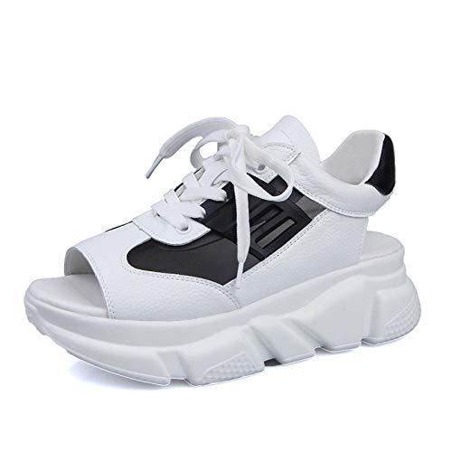 SONGYANG Sandalen Fashion Women Sandals Platform Wedges Women Shoes Thick Heel Lace Up Sandals Fish Mouth Sandals Summer Style Slide Shoes@Black_38 Lace Up Platform Sandal