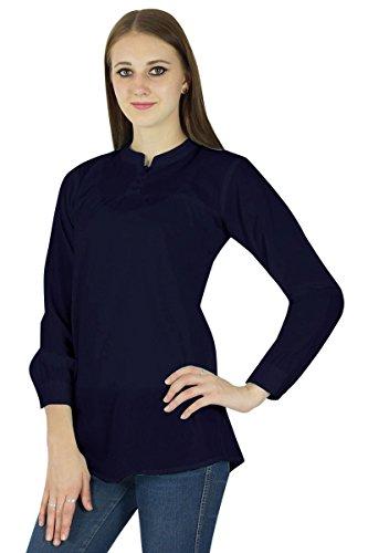 Coton Boho Top Wear Vêtements Robe D' Été Robe Tunique Casual Bleu marin