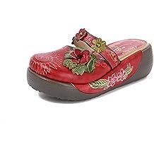 Damen Sandalen,Popoti Leder Sandalen Leicht Slippers Hausschuhe Mokassins  Pantoletten Sommer Pumps Vintage Blume Slip 552b6efa63