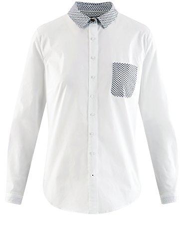oodji Ultra Damen Hemd Basic mit Brusttasche Weiß (1079B)
