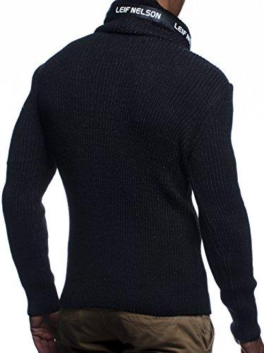 LEIF NELSON Herren Hoodie Cargo Stil Pullover Strickpullover Sweatshirt Sweater Pulli Winterpullover LN5460 Schwarz-Anthrazit