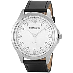 Montine White Dial Black Leather Strap Mens Watch MOW4567GSW