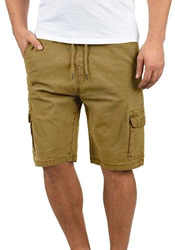 Indicode Frances Herren Cargo Shorts Bermuda Kurze Hose Mit Elastischem Bund Aus Stretch-Material Regular Fit, Größe:L, Farbe:Amber