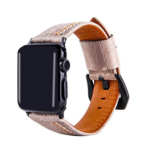 Wangyi - Cinturino Primo Strato in Pelle Bovina per Apple Watch Serie 1/2/3/4 (38/40/42/44 mm), Grey, 42/44mm
