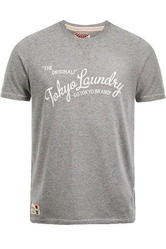 Herren Norman T-shirt Tokyo Laundry Neu Sommer Kurzärmeliges T-shirt Reine Baumwolle Top Mittel-Grau Meliert