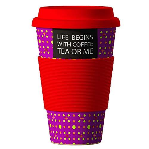 Bambus Becher wiederverwendbare Kaffeetasse mit dichtem Deckel, Trinkloch und Silikonhülle - Bamboo Eco ECoffee Cup - lebensmittelecht und spülmaschinenfest 400 ml Spruch