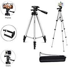 Osveta Fully Flexible Mount Cum Tripod,Foldable Camera Tripod with Mobile Holder Bracket Standwith 3D Head & Quick Release Plate (Silver/Black)