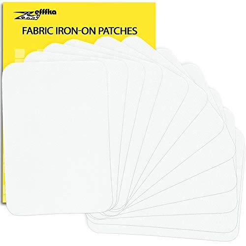 Zefffka toppe termoadesive per tessuto di alta qualità, colore bianco, 12 pezzi, kit di riparazione in 100% cotone, 7,5 cm x 10,5 cm
