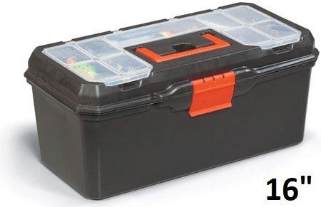 Kunststoff Werkzeugkoffer/Angelkoffer/Aufbewahrungskoffer Mit Träger und Kleinteilefach (16