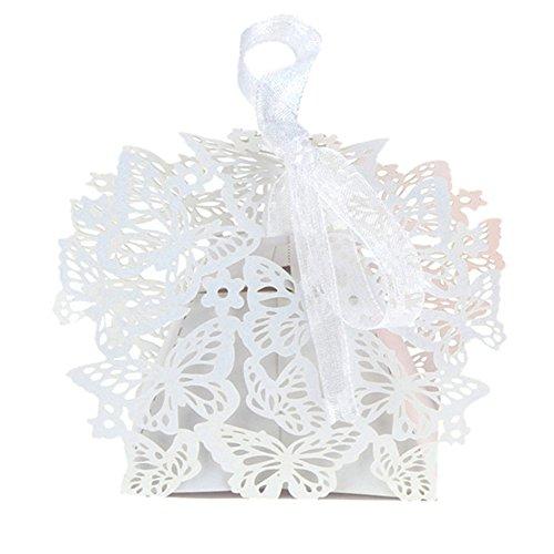 shzons 50pcs/set romantico matrimonio feste decorazione farfalla DIY Candy Cookie Scatole Regalo Festa Di Nozze (Cookie Regalo Farfalla)
