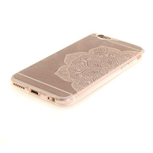 Custodia per iPhone 6S 6,SKYXD Lusso Luminosa Brillante Strass Creativo Disegni Rainbow Cover Trasparente Silicone Antiurto Case per Apple iPhone 6/6S Case Custodia per iPhone 6 iPhone 6S Glitter Moda Bianco Colorato Fiore Metà