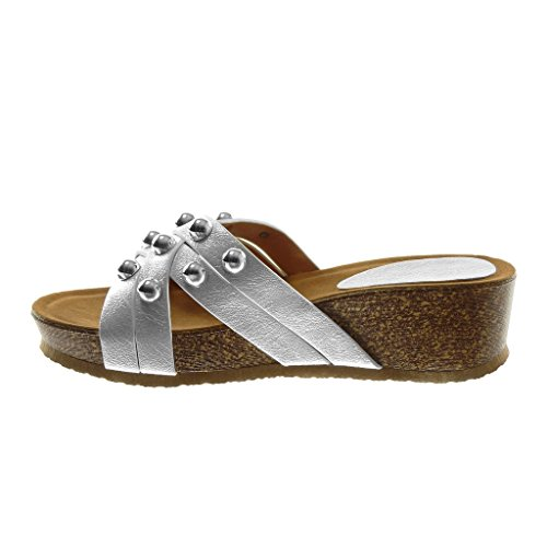 Angkorly Scarpe Moda Sandali Mules Slip-On Zeppe Donna Multi-Briglia Borchiati Perla Tacco Zeppa 5 cm Bianco