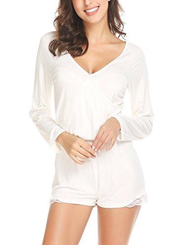 Pyjama Schlaf Shorts (ADOME Damen Schlafanzug Overall Tiefer V-Ausschnitt Pyjama Spitze Trimmed Shorts Lässige Nachtwäsche Set)