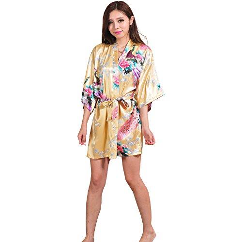 Yidarton Sexy Donna Pigiama Kimono Vestaglie Stile Breve Peacock Printing Kimono Bathrobe Giallo