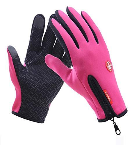 AmDxD Damen Winddicht ReitHandschuhe mit Reißverschluss Wärme Vlies Handschuhe Rose Handschuhe Größe X-Groß - Strass Damen Handschuh