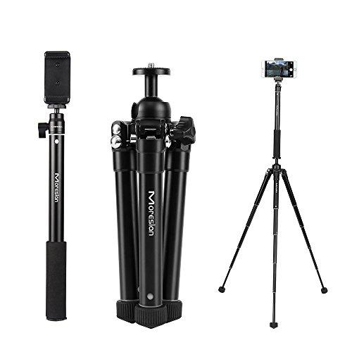 Kamerastativ Kamera Stativ, Moreslan (1.54m) Selfiestick Handy Stativ Reisestativ Aluminium mit 360°Kugelkopf Bluetooth Fernbedienung Stativtasche für Canon/ Nikon/ Sony/ iPhone/ Handy/ Kamera/ SLR