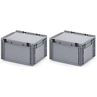 2x Eurobehälter-Eurobox 40 x 30 x 23,5 mit Scharnierdeckel inkl. gratis Zollstock * 2er Set