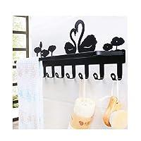 YSYYSH Towel Rack Black and white swan towel bar Suitable for bathroom smooth walls coat hook