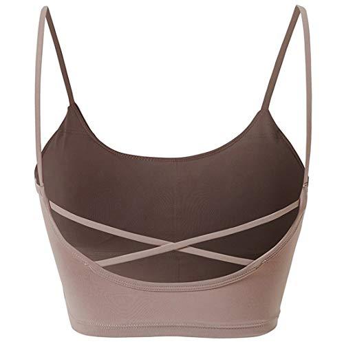 YUQINN Mode Sport-BHS für Frauen Stoßfestes Training Fitnessgürtel Weste-Stil Yoga Gym Activewear Shapewear (Color : Pink, Size : M)
