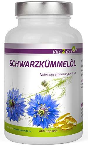 Schwarzkümmelöl Pure - 400 Softgel Kapseln - kaltgepresstes Ägyptisches Schwarzkümmeloel - Premium Qualität - Made in Germany - Softgel-kapseln