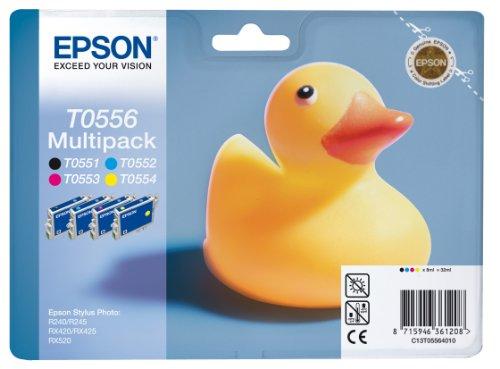 Epson - T0556 - Multipack d'Origine Cartouche Noire + 3 Couleurs