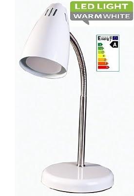 Strom sparen: LED Flexible Schreibtischlampe Tischleuchte Chrom Weiss 2Watt Verbrauch 30Watt Leistung Modern-puristisches Design ·